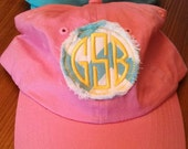 Soft cotton unstructured twill ball cap in great colors with raggy chevron monogrammed patch in your choice of colors