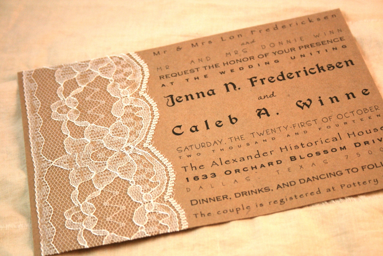 Lace Wedding Invitation: Lace Wedding Invitation Set Of 20 Kraft By Theturningofapage
