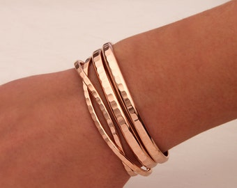 Hammered Cuff Bracelets, Rose Gold Filled