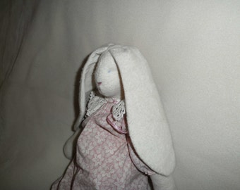 Vintage Fabric Rabbit Stuffed Animal Easter Bunny Toy Decoration Flannel Body Pink Print Dress