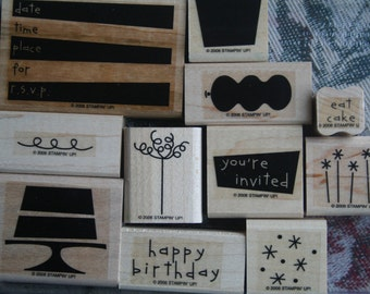 EAT CAKE Wood - Stampin' Up retired -Stamp Set