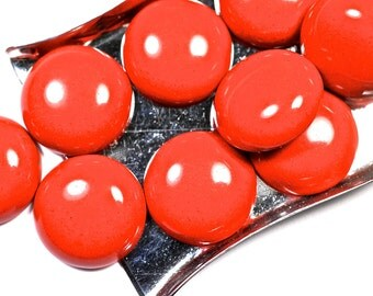 Red Coral flat back cabochon - 16 x 16 mm round polished -  for jewelry making