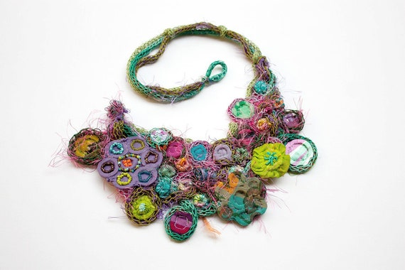 RESERVED - Statement bib necklace, knitted with bamboo, textile and plastic beads, colorful, OOAK