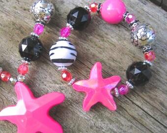 Electric Starfish Chunky Bracelet: (Fuscia) little girl's power jewelry