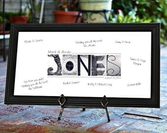 Wedding GUEST BOOK 10x20 - Alphabet Photography Personalized - UNFRAMED Name Print by Memories in a Snap