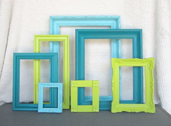 Lime Green Aqua Teal Turquoise Vintage Ornate Frames Set Of 7
