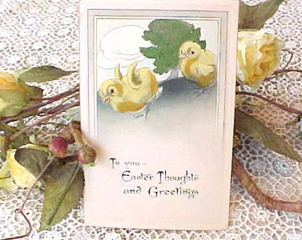Adorable Edwardian Era Unused Easter Postcard with Darling Chicks