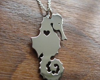 Silver Seahorse Pendant Necklace with small heart