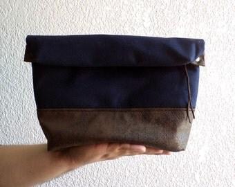 Toiletry bag, roll-up men bag,shaving bag, groomsman gift,Faux suede and navy blue wool. Mens. Husband gift.Dad gift.groomsmen gift.Handamde