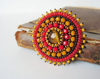 Red Yellow Brooch Bead embroidery Brooch Beaded brooch Beadwork Brooch Red Mustard Yellow Copper MADE TO ORDER