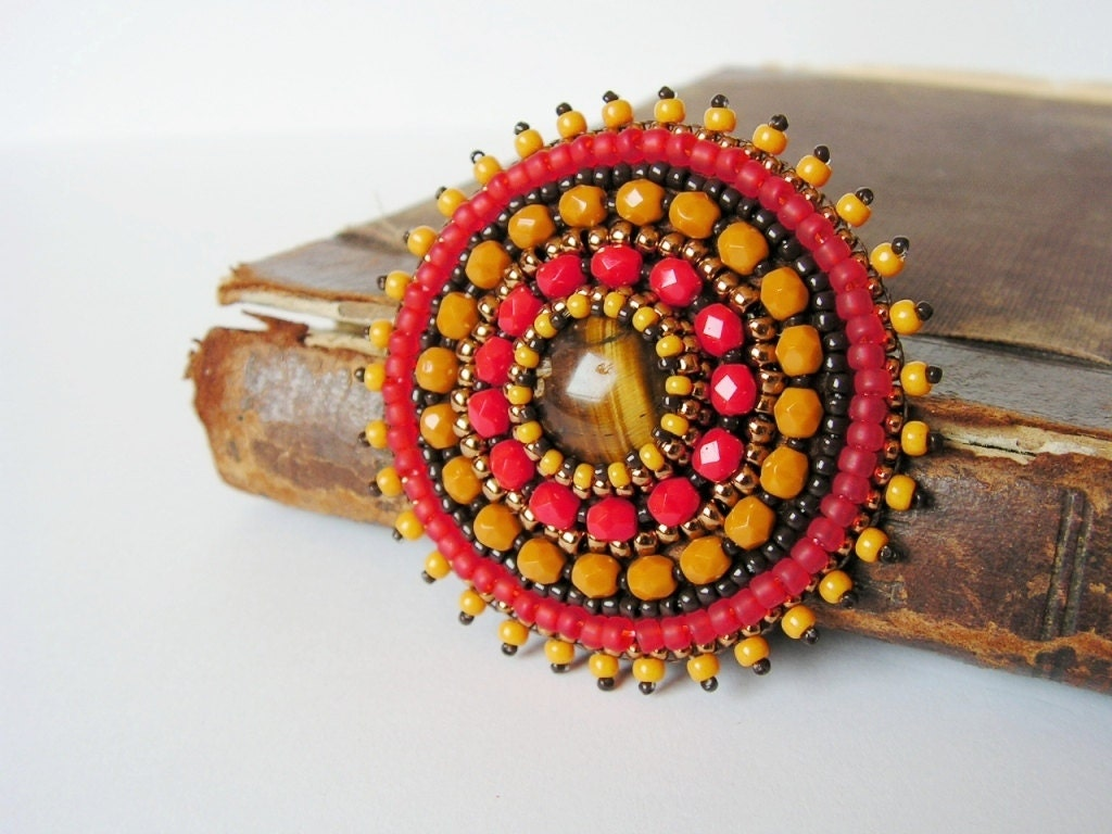 Red yellow brooch bead embroidery beaded