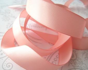 Peach Satin Ribbon 5/8 -- 3 yards  -- 16mm -- Blush Pink