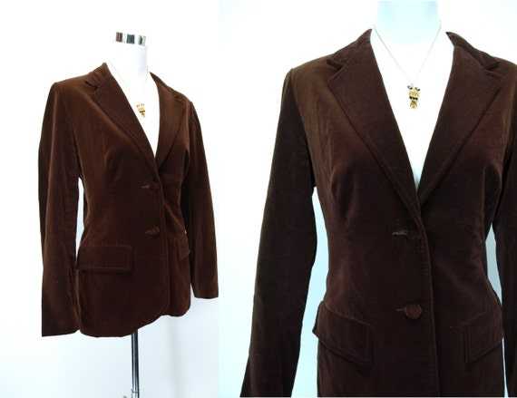 Vintage womens 70s chocolate brown velvet BLAZER fall jacket