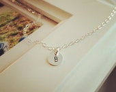 Tiny 925 Sterling Silver Initial Necklace - Hand Stamped Custom Initial Drop - All 925 Sterling Silver   - Initial Necklace