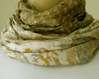 Green Silk Scarf with Vintage print