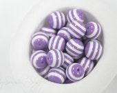 DIY White Stripe Resin Beads 20mm- 12 beads - Purple