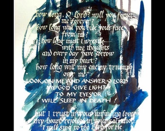 psalm 13 calligraphy print