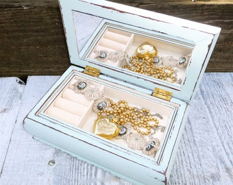 Shabby chic Jewelry Box with removable tray, Pale Aqua