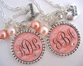 BRIDESMAID GIFT, Bridesmaid Monogram Necklace, Coral Peach Damask Bridesmaid Keychain Maid of Honor Bridal Jewelry Flower Girl CORAL Wedding