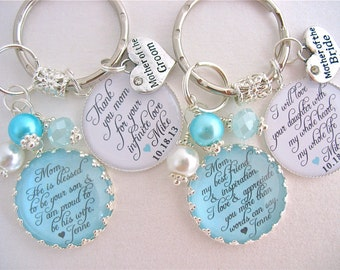 MOTHER of the Bride Gift/Mother of Groom Gift BRIDAL Jewelry, Gift from the heart, Beach Wedding TURQUOISE Wedding  Mother in law keychain