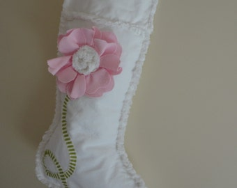 Christmas Stocking Pink and White Cottage Shabby Chic Baby Girl