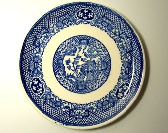 BLUE WILLOW SAUCER - Single plate - Made In U.S.A. - Probably Homer Laughlin