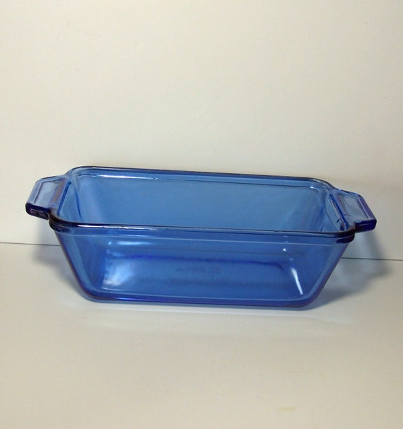 Blue Loaf Pan Anchor Hocking Oven Proof Glass Made In