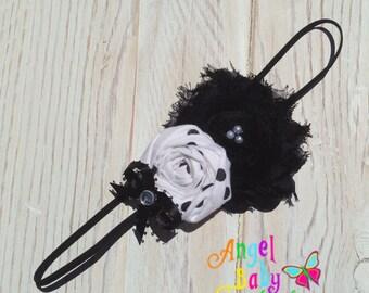 Black and White Skinny Elastic Headband