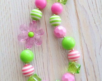 Pink and Green Toddler Flower Necklace