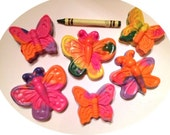 BIG Butterfly Crayons, Great for Toddlers-- Set of 6 Upcycled Recycled Crayon Butterflies Party Favors Spring Birthdays