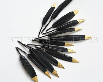 GOLD dipped black feathers - metallic gold hand painted duck feathers gold tip, real feathers loose small / 3-4.5 in long, 12 pcs / F105-3G