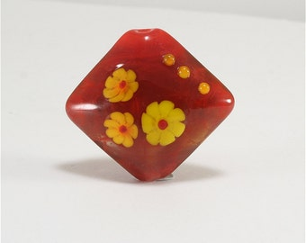 Handmade Lampwork Glass Bead Focal Red Orange Yellow SRA DUST Team LE Team