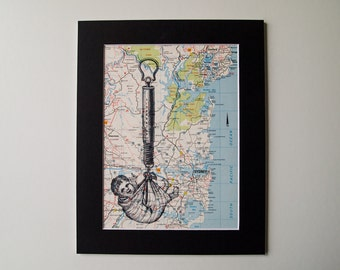 Vintage Map Mounted Print - Baby in a Sling on a Map of the Sydney Region, Australia, 8 x 10""