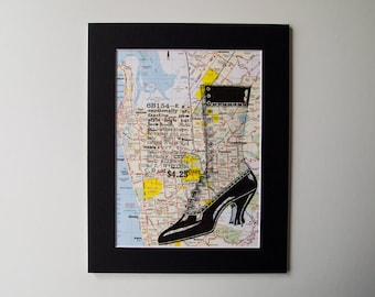 HIgh Heel Shoe on Original Vintage Map of Adelaide, Australia, Mounted and Ready to Frame, 8 x 10""
