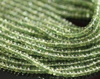 Green Apatite Faceted Rondelles, 4 mm, 7 inches GM0303FR/4