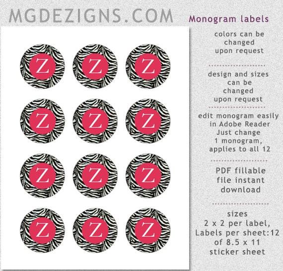 Zebra Stripes Monogram Pink 2 Inch Round Labels Template Pdf By