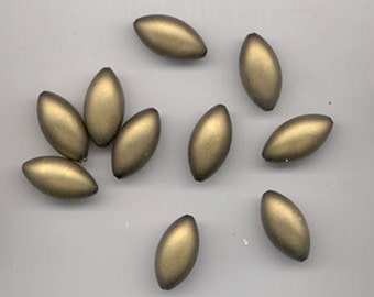Twelve beautiful vintage lucite beads - matte satin-like olive gold - 24 x12.5 mm pointed ovals
