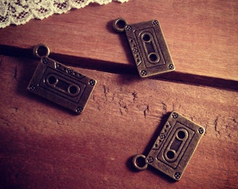 Cassette Tape Charms Antique Bronze Cassette Charm Tape Charm Music Small Charm 90s Vintage Style Pendant Jewelry Supplies (BB180)