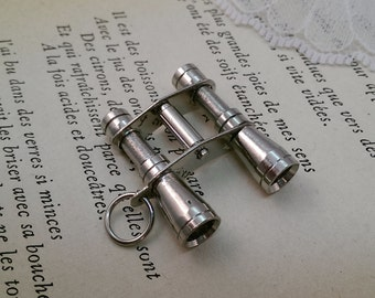 1 - Vintage Style Binocular Pendant Charm Necklace Nautical SILVER (BA068)