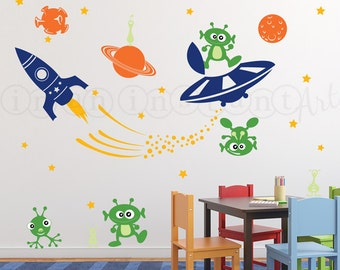 Outer Space Decal, Rocket Wall Decal, Alien Invasion Wall Decal, UFO Wall Decal for Nursery or Kids, Childrens Room 030