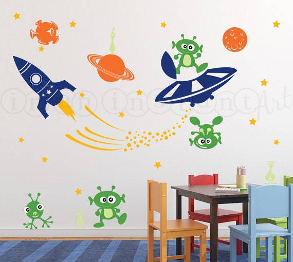 Outer Space Decal, Rocket Wall Decal, Alien Invasion Wall Decal, UFO ...