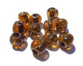SUPPLY: 12 Distressed Amber Glass  Beads - Large Hole Beads - Macramé Beads - (11-B1-00003526) OS-no