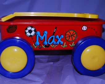 Boys Short Toy Wagon Cart Sports - Personalized and Hand Painted