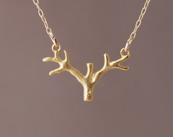 Gold Branch Tree Necklace
