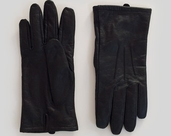 SALE Vintage Black Leather Gloves Ladies Womens Large Winter Gloves 100% leather Gift for her Warm Snow Gloves