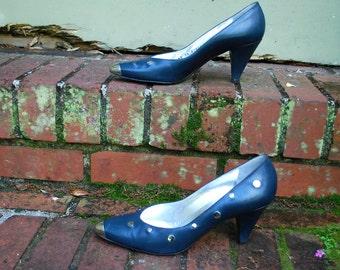 Vintage // Italian Leather Blue Capped Bullet Toe Pointy Metal Stud Heels // Glam Grunge Rare Designer Size 7.5