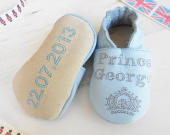 Personalised Prince Leather Baby Shoes