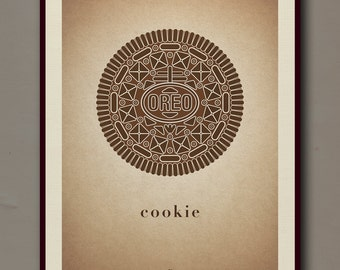 Oreo Cookie Print (Brown)   12 x 16    Digital, Wall Decor, Poster Print, Modern Vintage