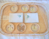 Vintage Serving Tray Bamboo Cocktail Set 6 Butterfly Coasters and Napkins Mid Century Tray Linbro