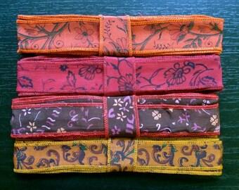 Silk Sari Ribbon, Silk Trim, 4 colors, R25